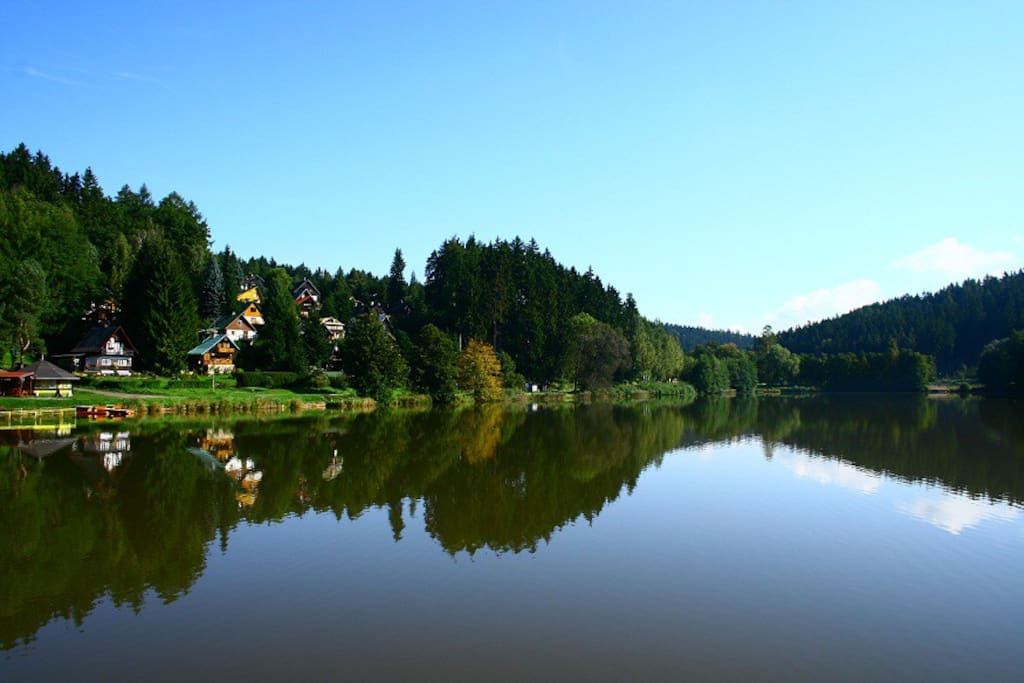 Het meer met links het vakantiehuis