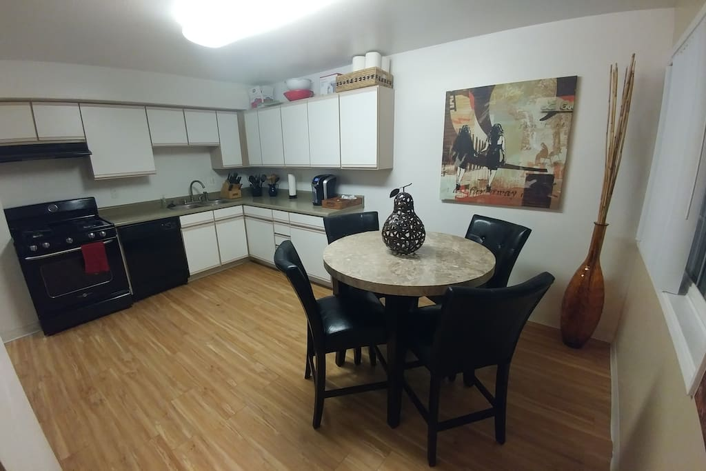 Dining area with available kitchen.