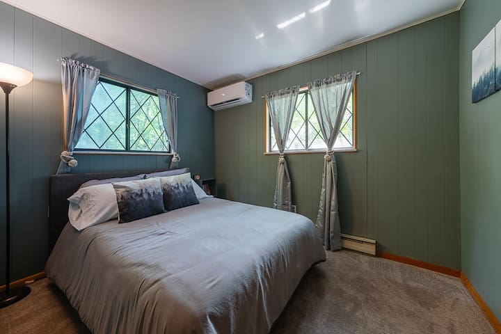 Lower level forest bedroom with full bed
