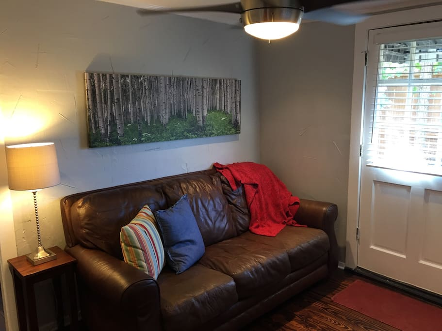 living area with full size sofa