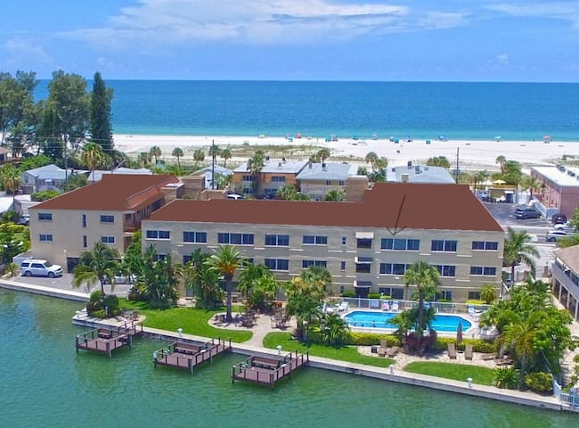 Spectacular beach to bay views from this resort.