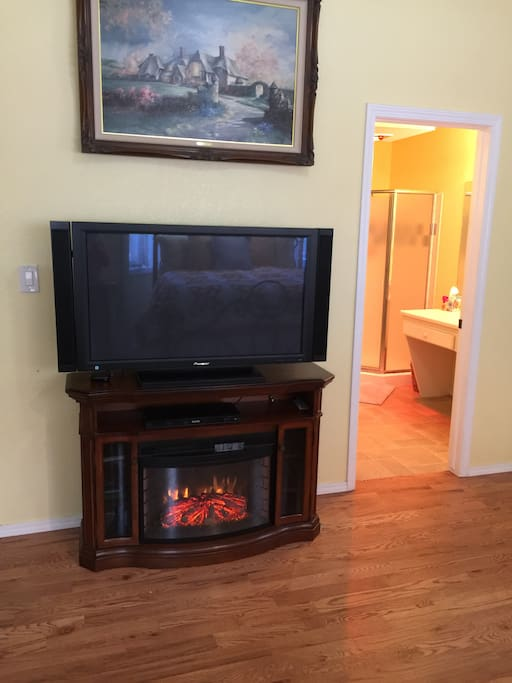 Electric fireplace and TV.