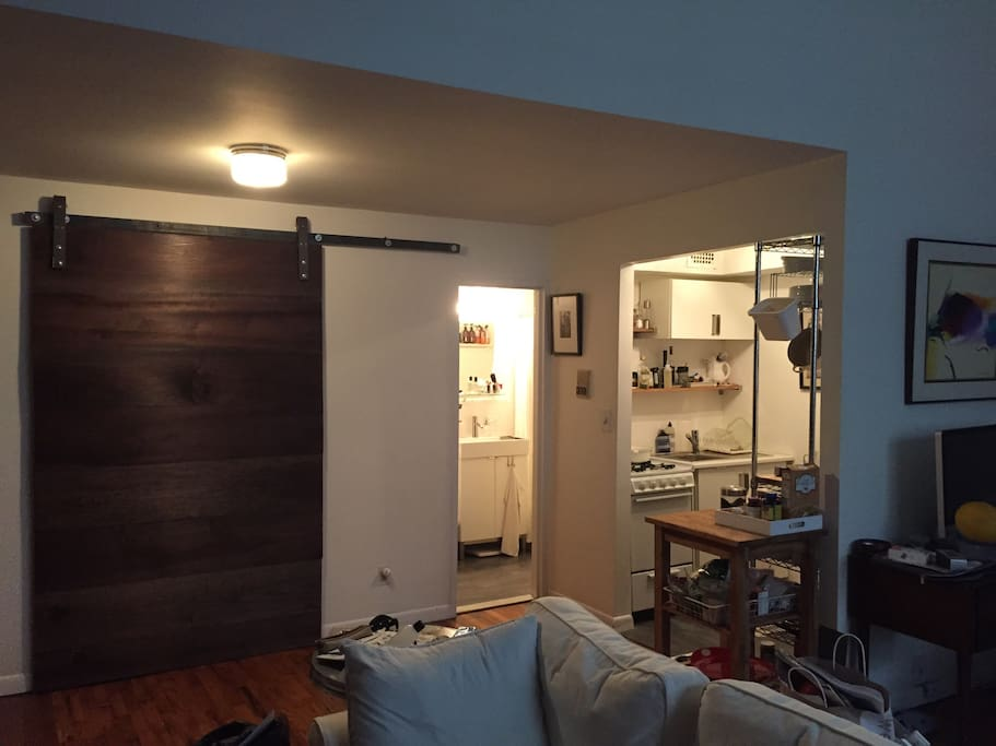 Open space. Large closet, bathroom and kitchen.