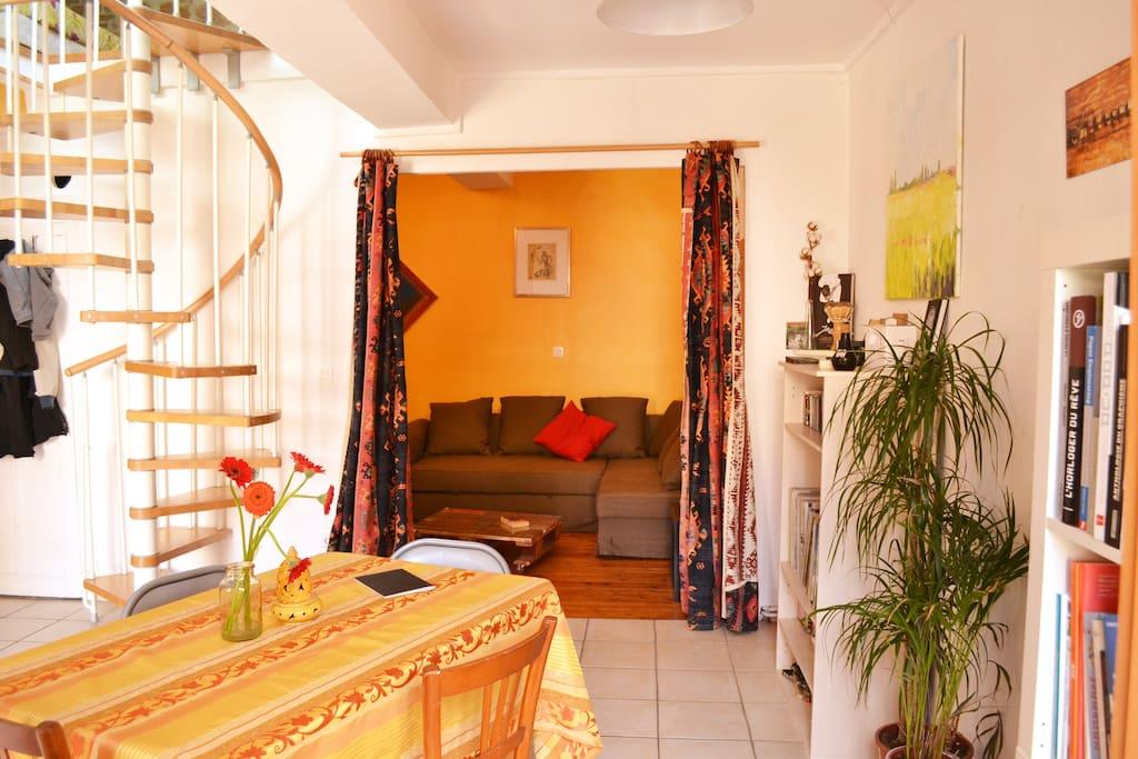 Alcôve salon avec Canapé-lit double