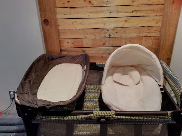 We've added a pack-n-play!  It has a changing table, infant bassinet, infant raised level, as well as