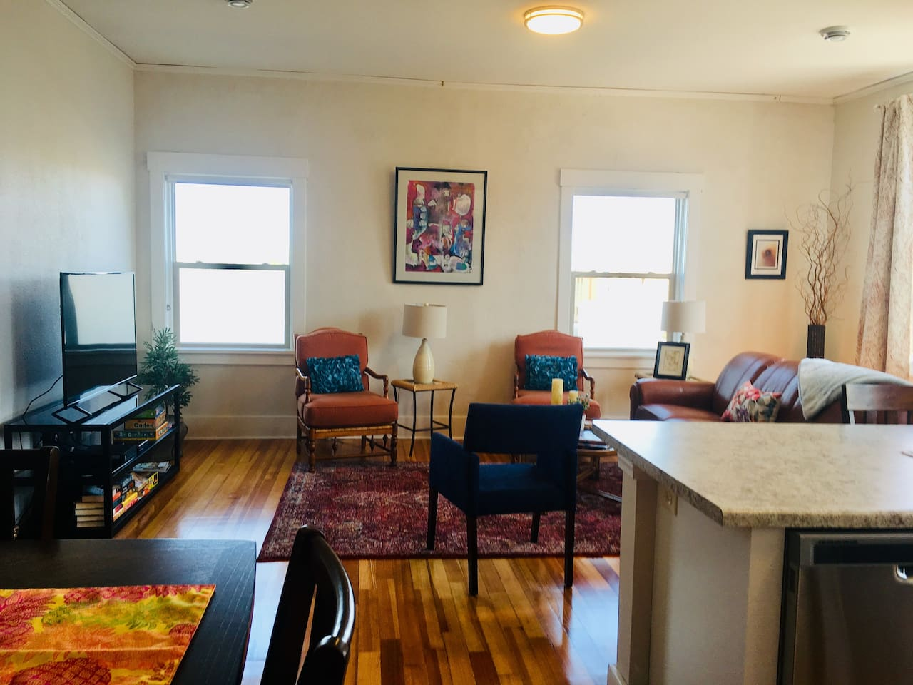Sun drenched living room overlooking the heart of downtown Grinnell!