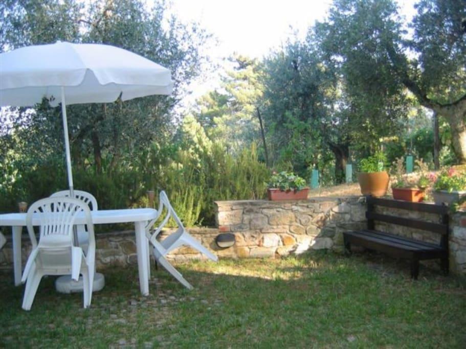 Il giardinetto utilizzabile per cene all'aperto