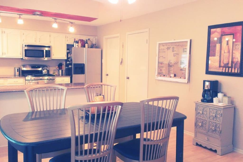 Dining table seats 6 (extra chairs not pictured). Coffee included with your stay!