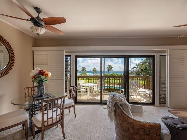 East Kauai w/ocean view lanai, open kitchen, WiFi, ceiling fans, TV, DVD–Kaha Lani 209