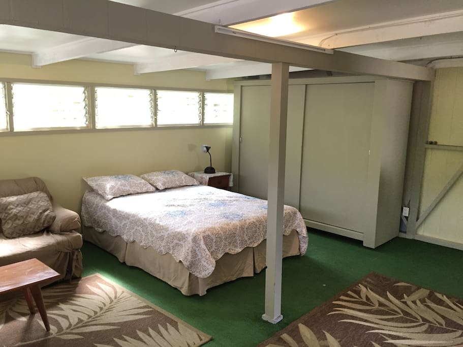 Sleeping area with large storage armoire