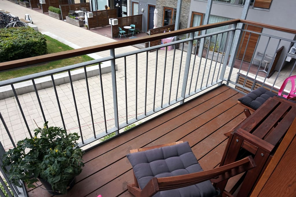 Balcony facing playground and garden