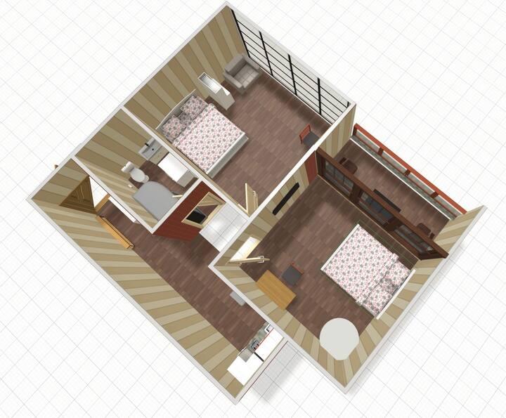 2 спальни, балкон с видом на море, 5 мин. до пляжа