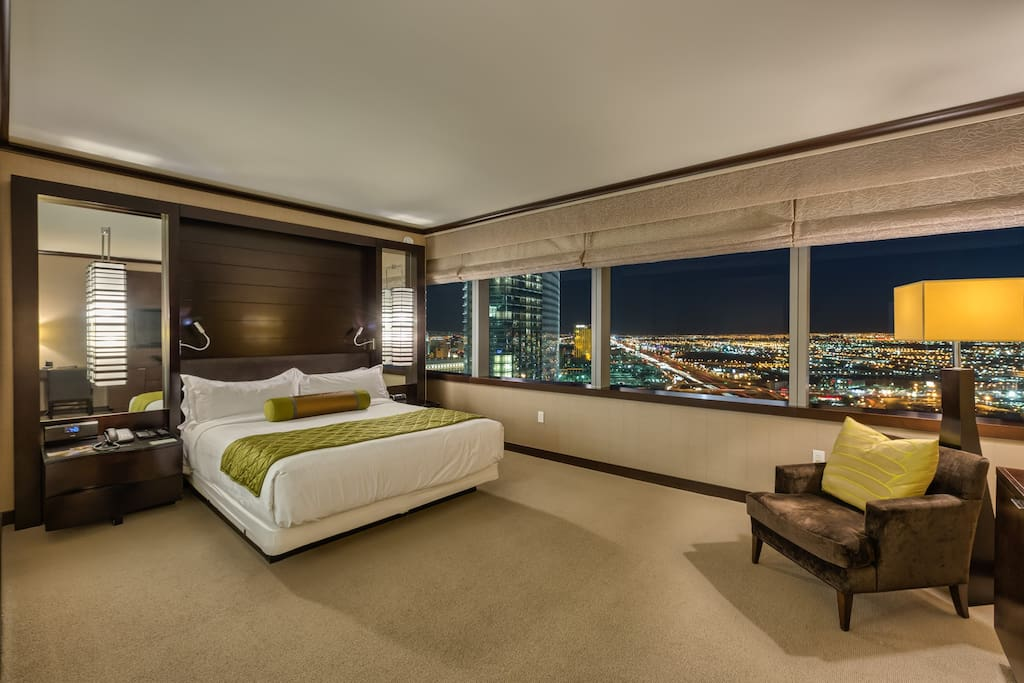 2 huge Master Bedrooms, each with a custom topped king bed, flat screen TV, bluetooth speakers... and incredible views of southwest Las Vegas!