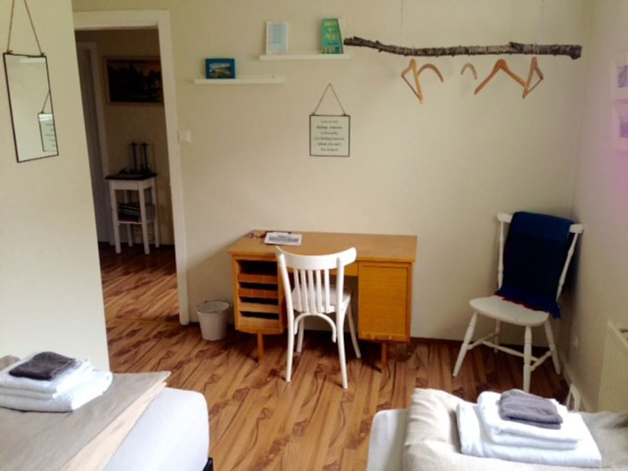 Room no #3, hanger from the forest and space to write postcards to your  family and friends :)