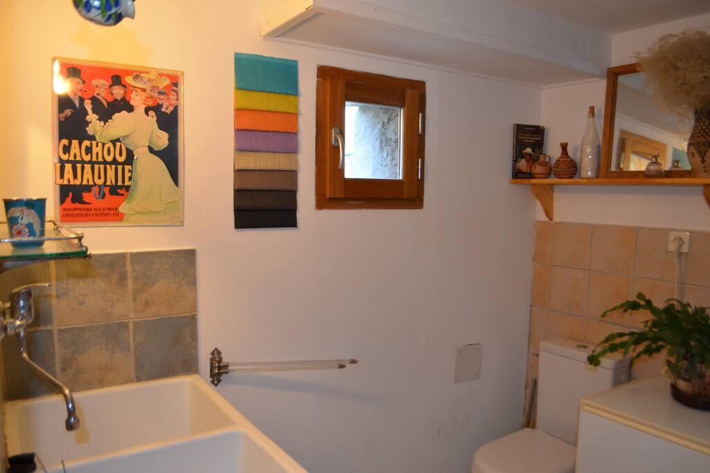 Salle de bain avec douche et machine à laver