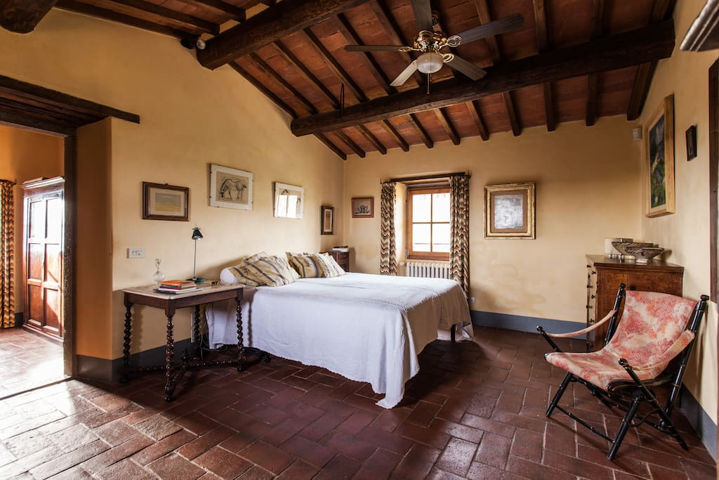 """The master bedroom, with private bathroom, is in the """"turret"""" on the second floor, from which you can enjoy a wonderful 360 degree view"""