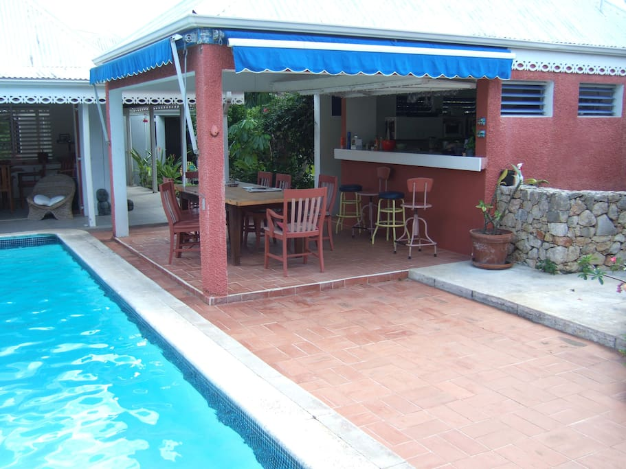 Our pool is the center of the house, right by the eating area and kitchen.
