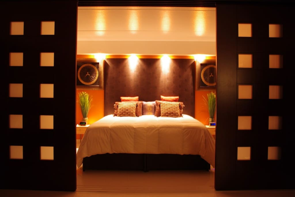 Bedroom1:  Sleep like royalty.  Comes with all genuine leather king bed.