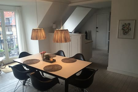 Bright and moden apartment in central Gentofte. Penthouse, with a lovely and sunny balcony. Many shopping possibilities, and very close to Copenhagen.
