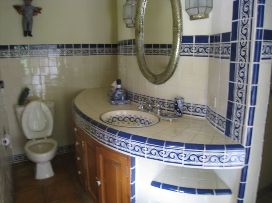 Beautiful Mexican tile bathroom with luxurious shower.