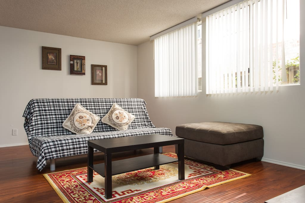 Living room with queen size futon bed