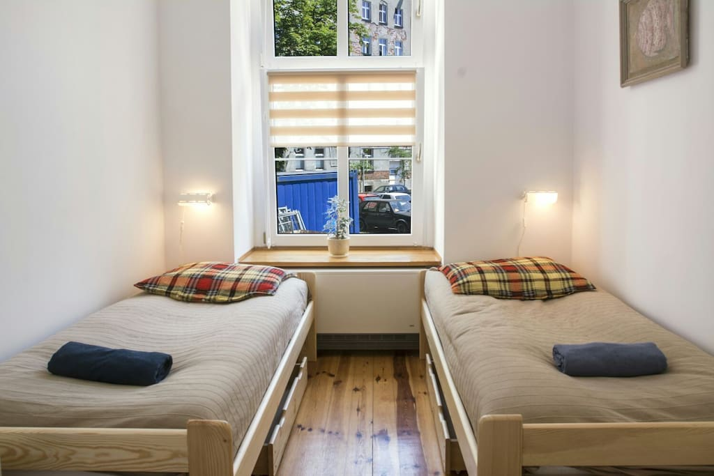 Dormitory with two single beds