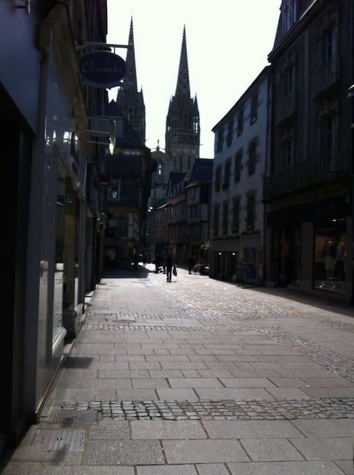 Les rues piétonnes de Quimper et son centre historique