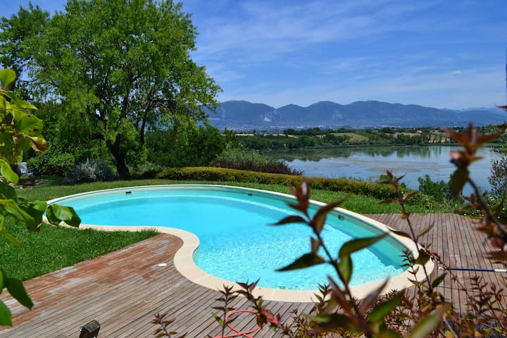 the pool terrace overlooking the lake