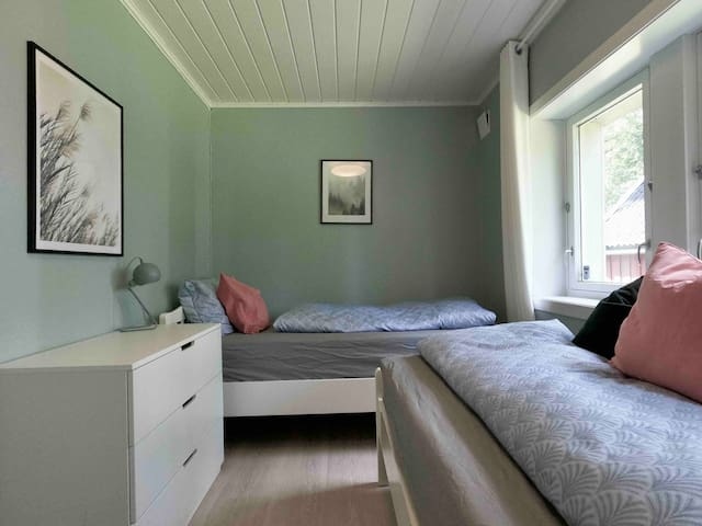 Bedroom number 5; twin room. Both beds are 90 cm X 200cm