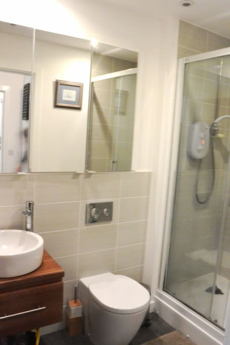 Ensuite bathroom with storage in mirrors. Electric shower.