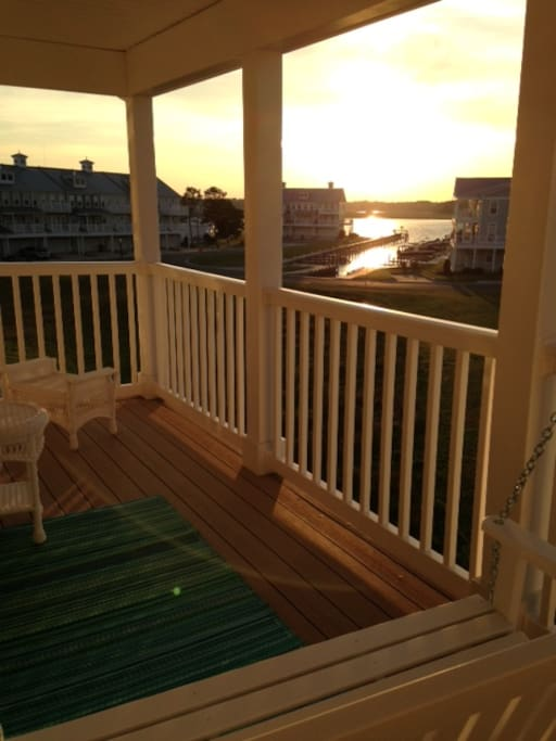 Outside deck showing boat slip and bay!