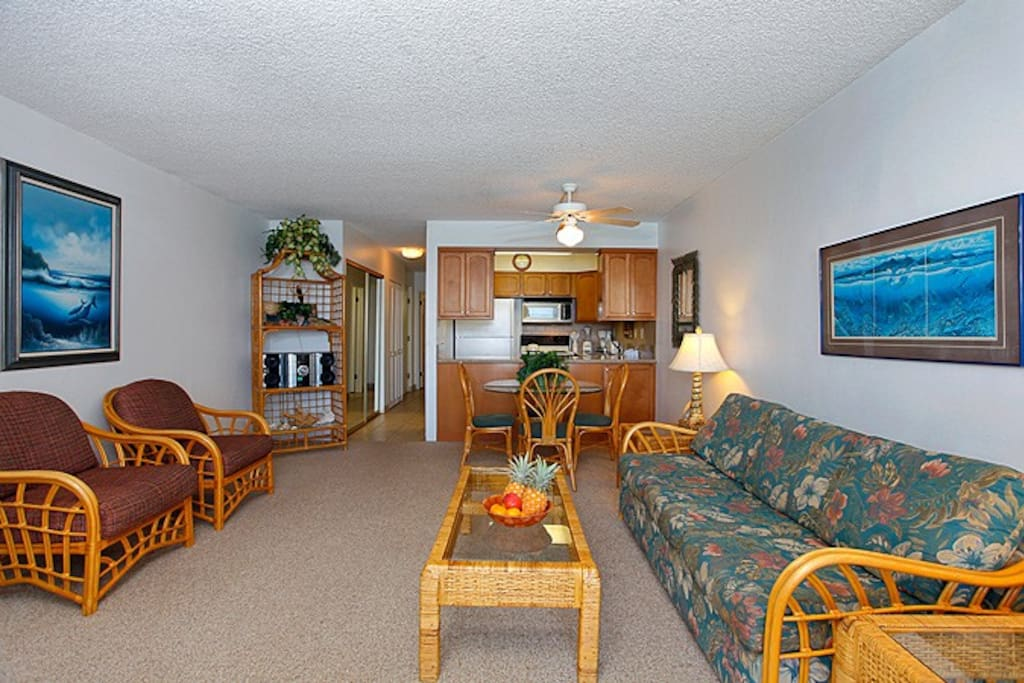 This oceanfront ground level one-bedroom condo is tropically furnished with all the amenities you will need for a wonderful relaxing Maui vacation. We offer a Cable TV, DVD player, stereo and FREE WIFI Internet access. Additionally a comfortable sofa slee