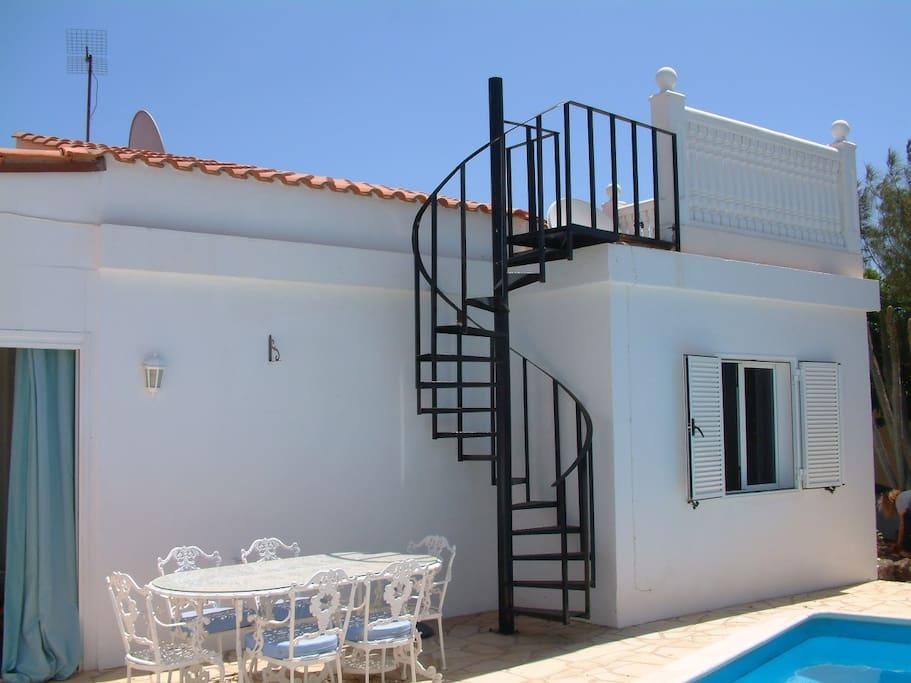 Stairway to roof terrace