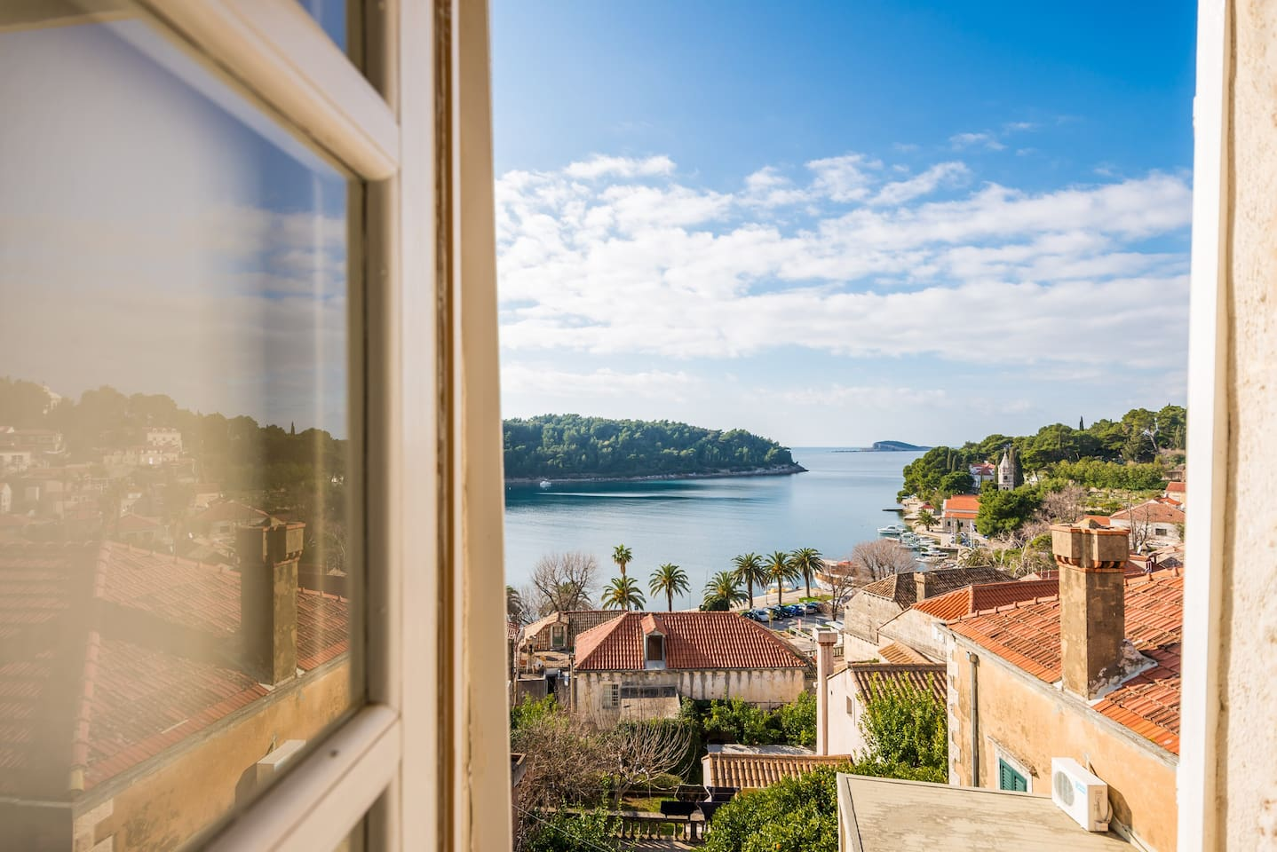 Stunning sea view over Cavtat Bay from the attic's  window