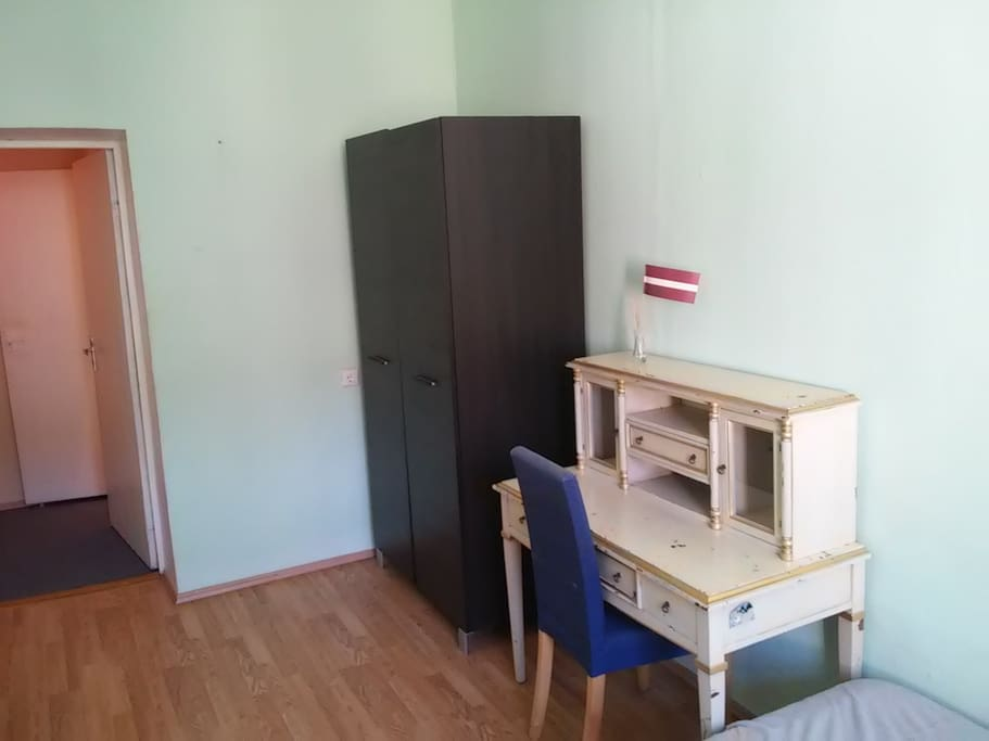 Desk and wardrobe