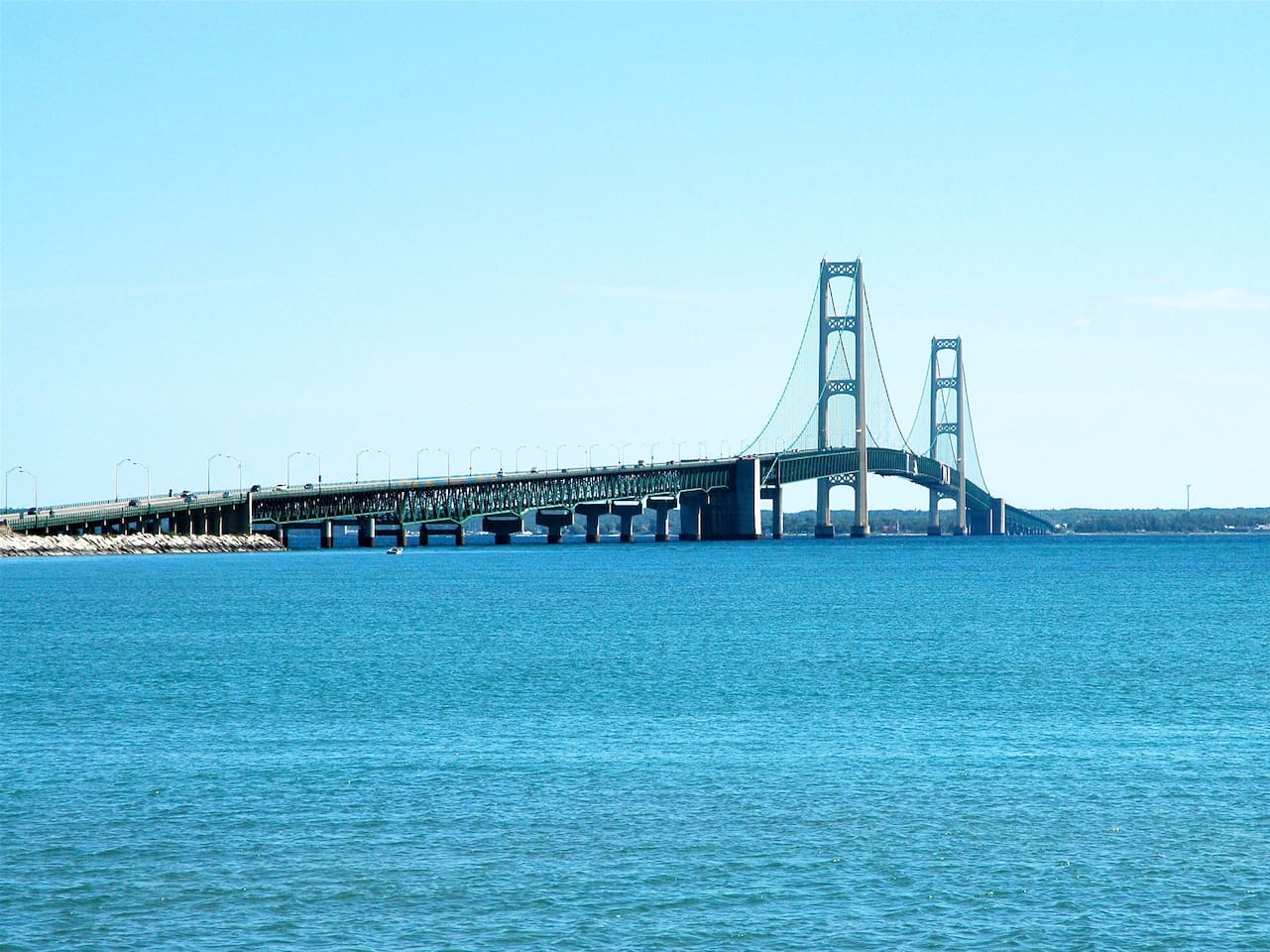 The Mackinac Bridge is only 4 miles from us.