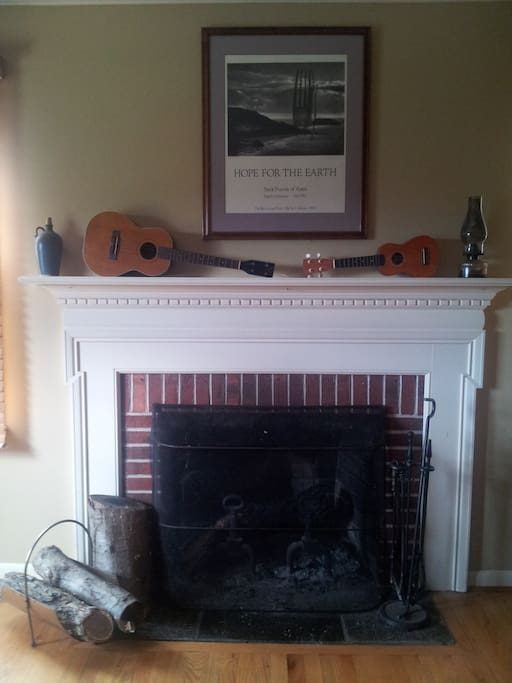 The fireplace faces the bed. We'll supply wood and build a fire for a small fee.