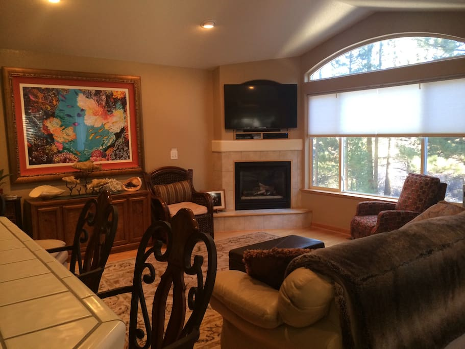 Comfortable seating with cable TV, DVD and lots of movies.