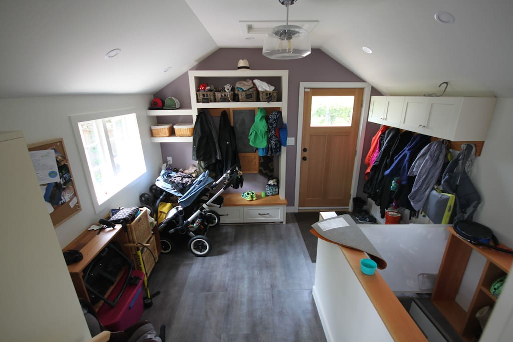 Mudroom entrance. Lots of storage for jackets/shoes, strollers, bikes etc.