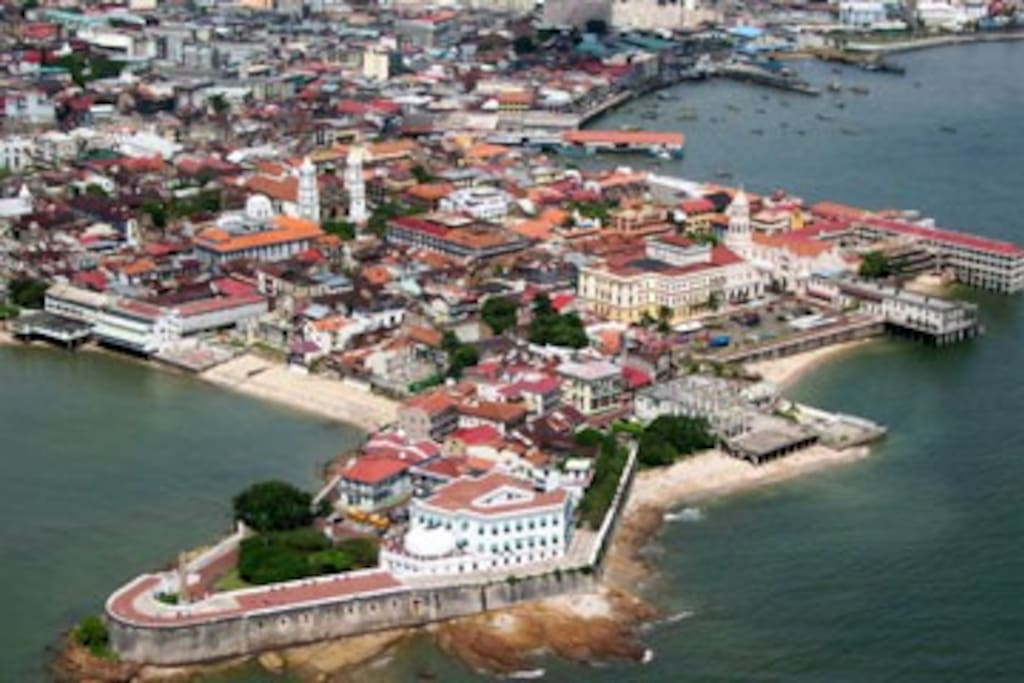 Aerial view of Casco Viejo and Paseo de las Bovedas