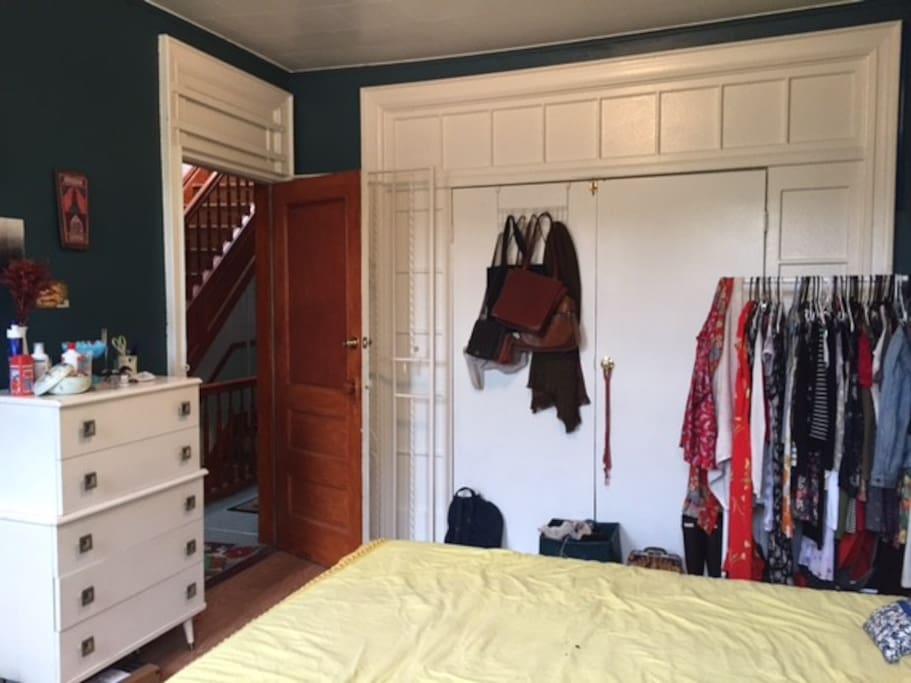 Dresser and clothing rack available for storage
