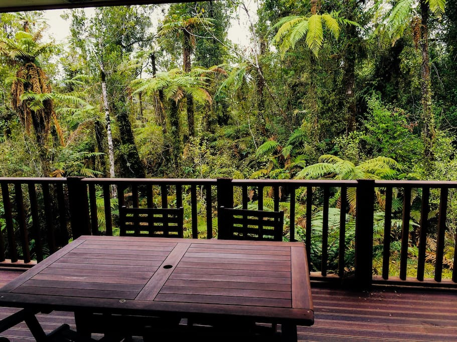 The large deck is a lovely spot for breakfast with the birds amongst the tree ferns.