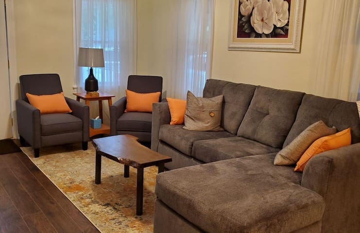 The main living area.  New, comfortable furnishings welcome you  to our home.