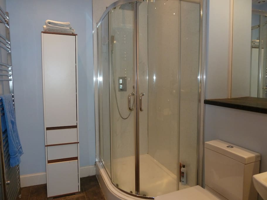 large bathroom, shower view