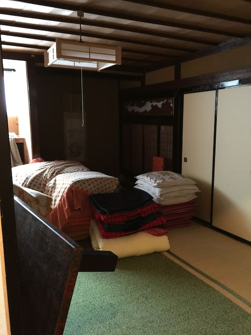 We have no beds; use futons just like some time ago in the typical style of Japan.