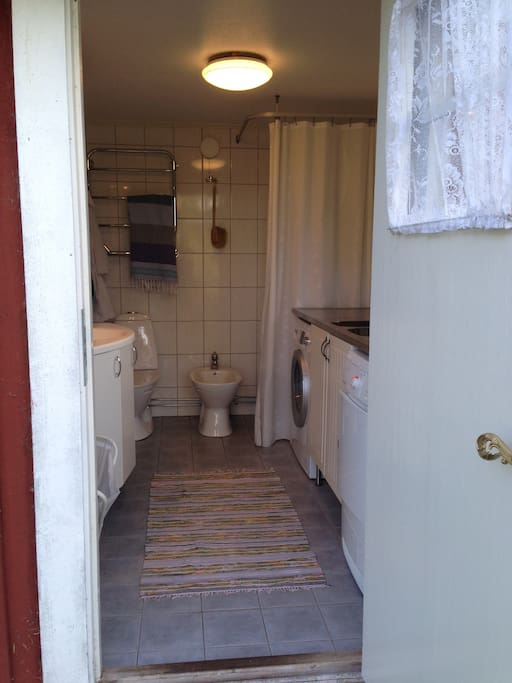 Shared toilet/shower/ laundry area.