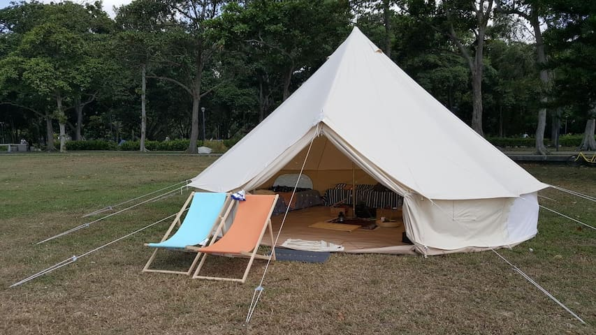 Beach Camping in Luxury Bell tent (6pax)