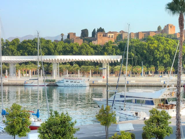 THE ENVIRONMENT. THE MARINA AND THE  ALCAZABA CASTLE.