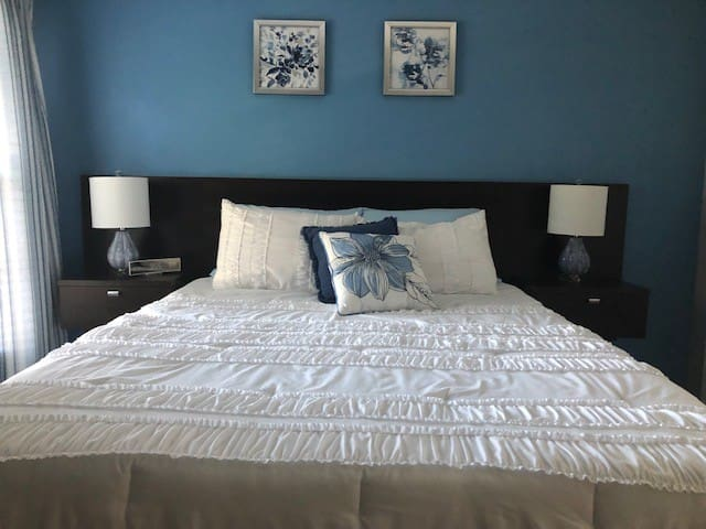 Main Level Blue Bedroom with Queen Bed