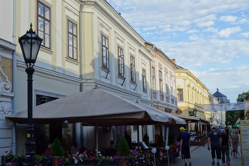 The lovely Széchenyi street with the building of the apartment